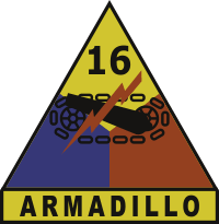 16th Armored Division Armadillo Decal