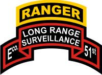 51st Infantry Long Range Surveillance E Company Ranger Tab & Scroll Decal