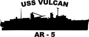 USS Vulcan Class Repair Ship AR 5 (Black) Decal