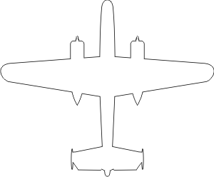 North American B-25C Mitchell Silhouette 1 (White) Decal