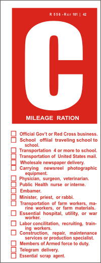 C Gas Ration Decal
