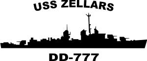 USS Zellars DD 777 an Allen M Sumner Class Destroyer (Black) Decal