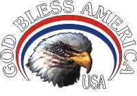 God Bless America - Masked Eagle (White Text) Decal