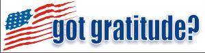 Got Gratitude Bumper Sticker 3 (Blue Text) Decal