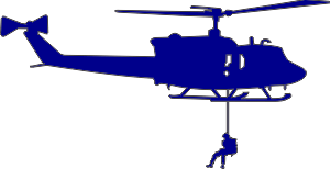 UH-1 Iroquois Huey Silhouette 2 (Blue) Decal