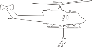 UH-1 Iroquois Huey Silhouette 2 (White) Decal