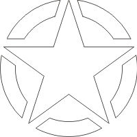 WWII Jeep Star - Segmented (White) Decal