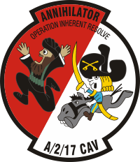 17th Cavalry, 2nd Squadron, A Troop - Annihilator Decal