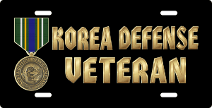 Korea Defense Service Medal Veteran License Plate