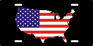 USA Map License Plate