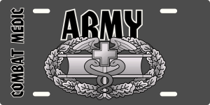 Army Combat Medic Badge License Plate