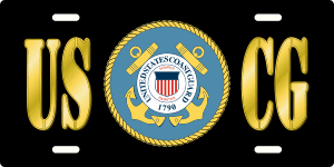 USCG License Plate (Black)