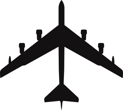 Boeing B-52 H Stratofortress Silhouette (Black) Decal